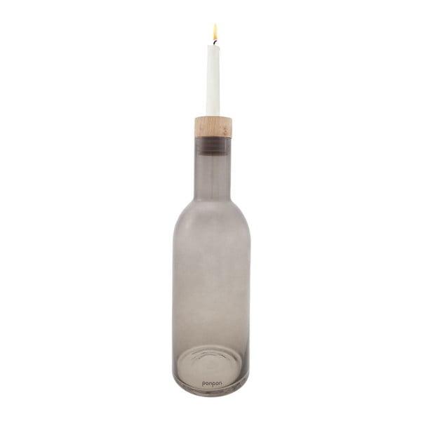 Váza/svietnik Bottle 30,5 cm, sivá