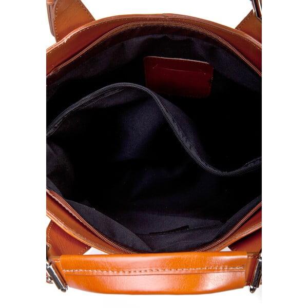 Koňakovohnedá kožená kabelka Massimo Castelli Valeria