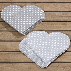 Sada 24 sivých obrúskov Boltze Heart