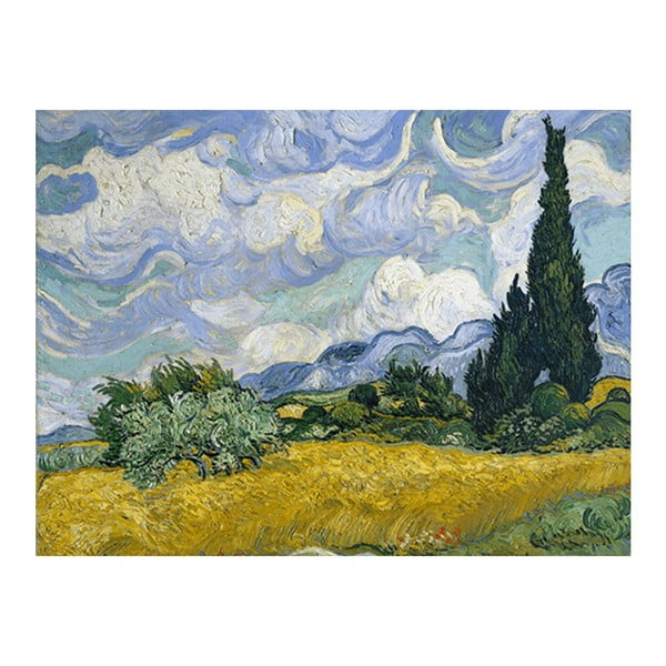 Obraz Vincenta van Gogha - Wheat Field with Cypresses, 50x40 cm