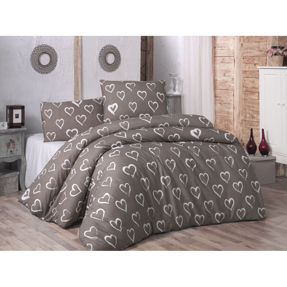 Bavlnené obliečky s plachtou na dvojlôžko a 2 obliečky na vankúše Hearts, 200 × 220 cm