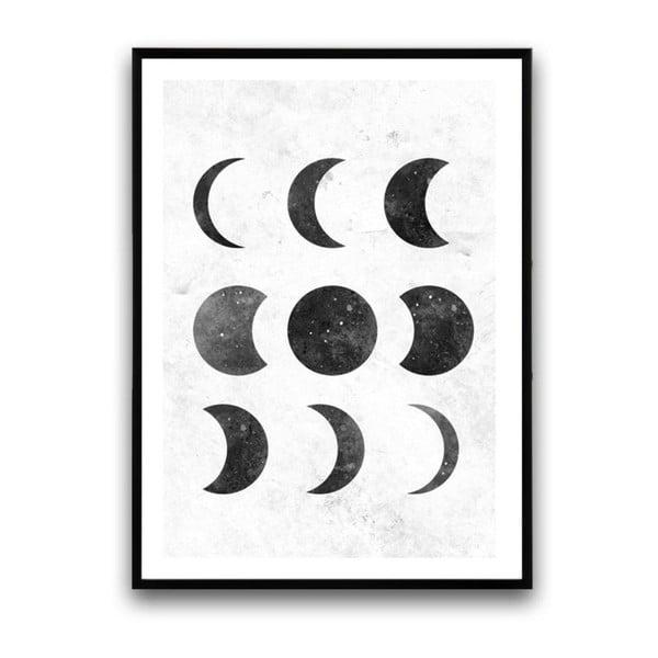Plagát v drevenom ráme Moon, 38x28 cm