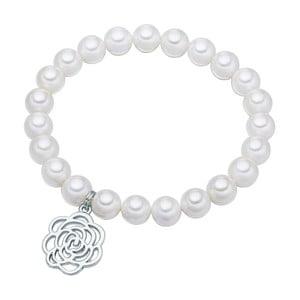 Biely perlový náramok Pearls of London Flower, dĺžka 19 cm