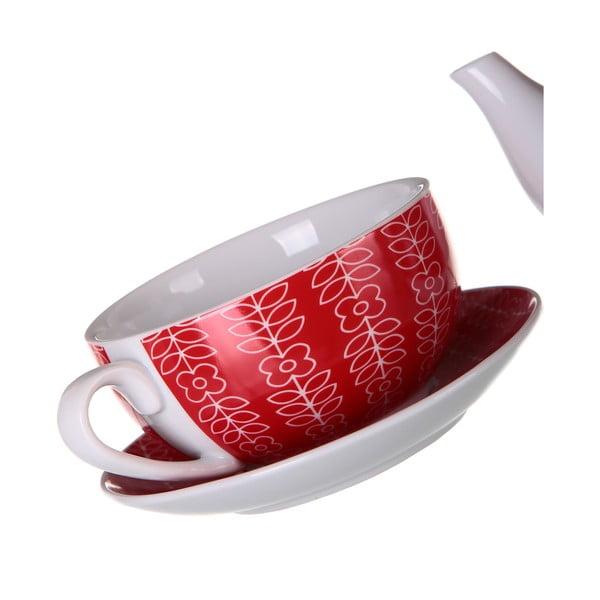 Konvička so šálkou Flowers 450 ml, červená