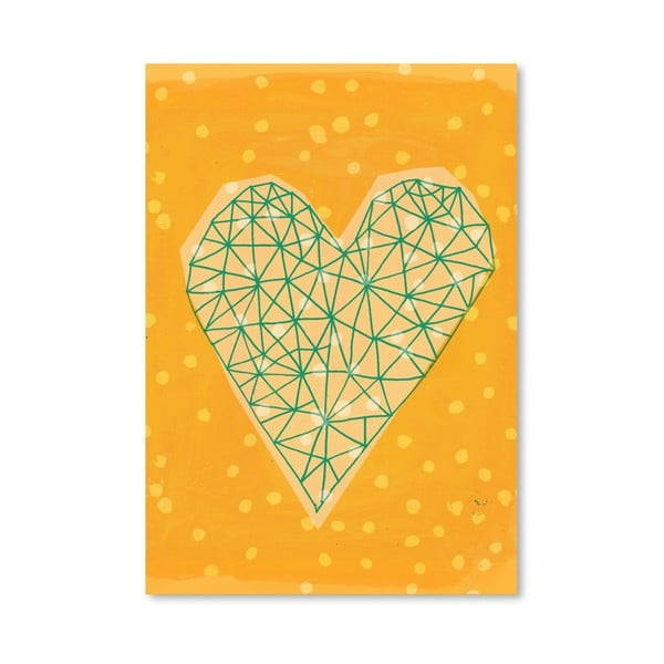 Plagát Geometric Heart in Yellow, 30x42 cm