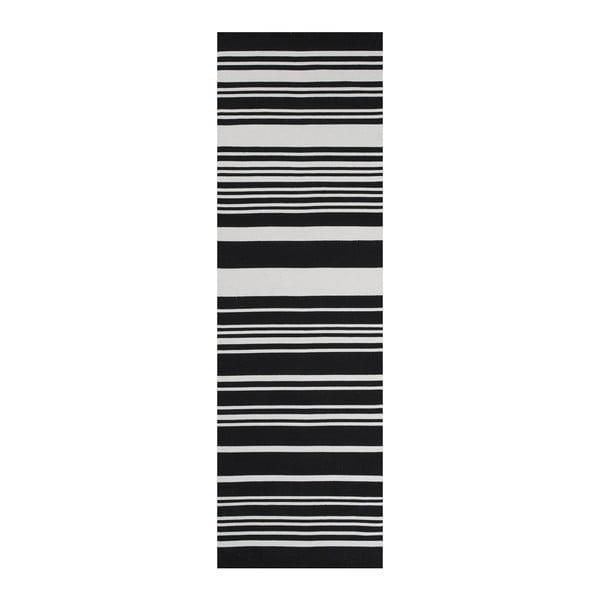 Čierny bavlnený koberec Linie Design Glorious, 60x90cm