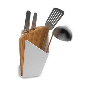 Stojan na nože a kuchynské nástroje s doskou na krájanie Utensil/Knife Holder + Board, biely