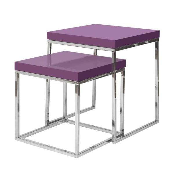 Sada 2 odkladacích stolíkov s fialovou doskou TemaHome Prairie