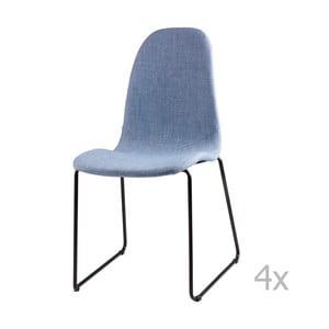Sada 4 svetlomodrých jedálenských stoličiek sømcasa Helena