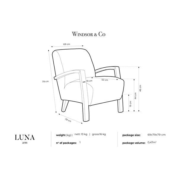 Svetlomodré kreslo so svetlými nohami Windsor & Co Sofas Luna