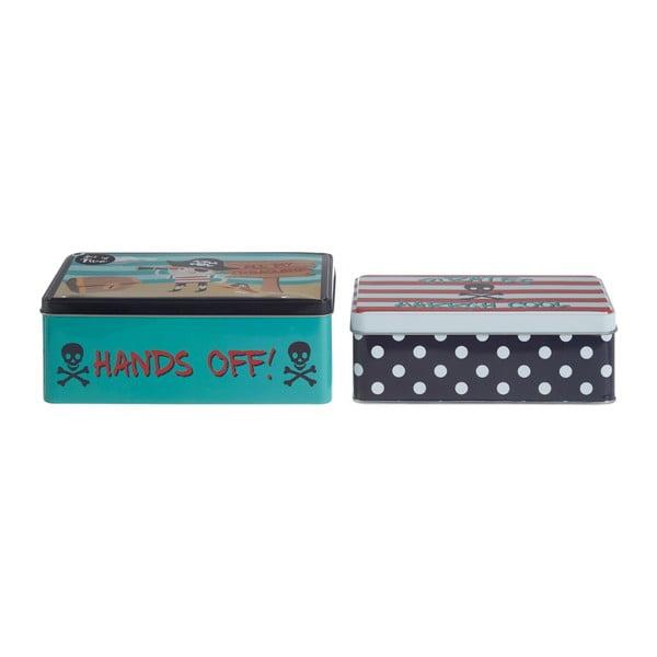 Sada 2 cínových úložných boxov Premier Housewares Pirate, 13×20 cm