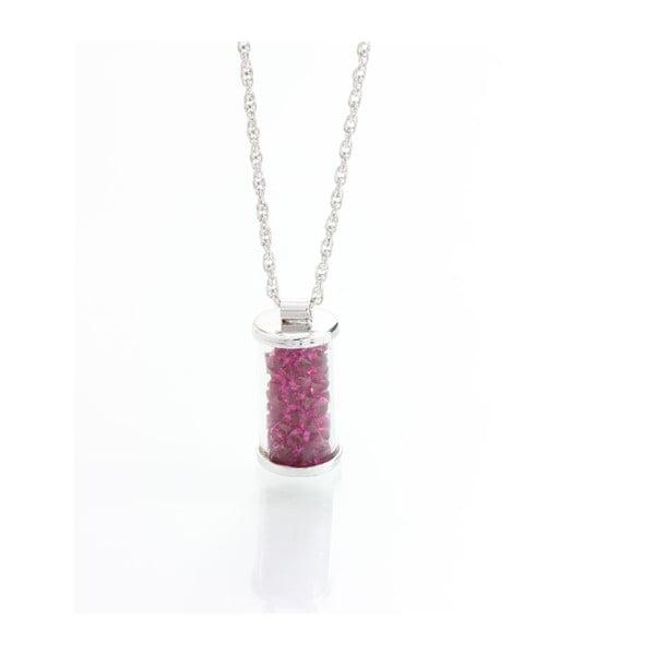 Fuksiový náhrdelník so Swarovski krištáľmi Yasmine Ampule