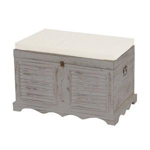 Sivá lavica s úložným priestorom Mendler Shabby