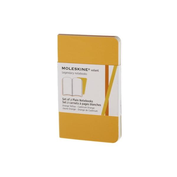 Sada 2 notesov Moleskine Volant 7x11 cm, žltá + čisté stránky
