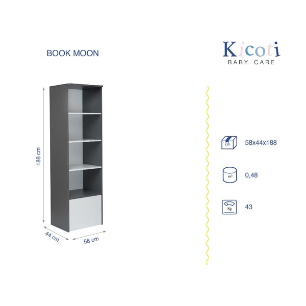 Sivo-biela knižnica KICOTI Moon
