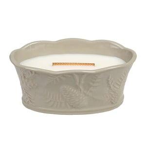 Sviečka s vôňou jantáru, vetiveru a pižma v keramickom svietniku Woodwick Domáci kozub, doba horenia 70 hodín