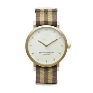 Unisex hodinky s hnedo-béžovým remienkom South Lane Stockholm Sodermalm Gold Stripes