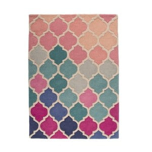 Modro-ružový vlnený koberec Flair Rugs Rosella, 160x220cm