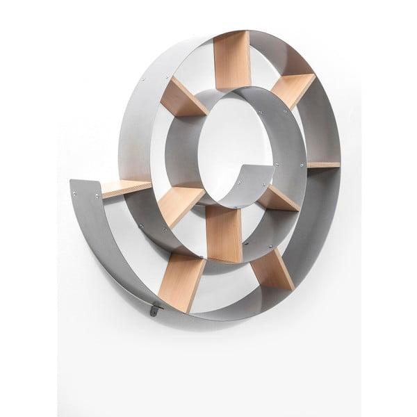 Sivá nástenná knižnica Kare Design Snail