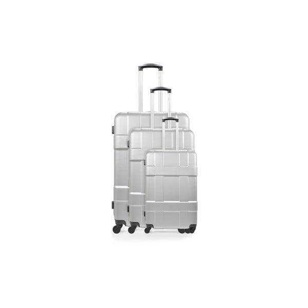 Sada 3 strieborných cestovných kufrov nakolieskach Hero Garcia