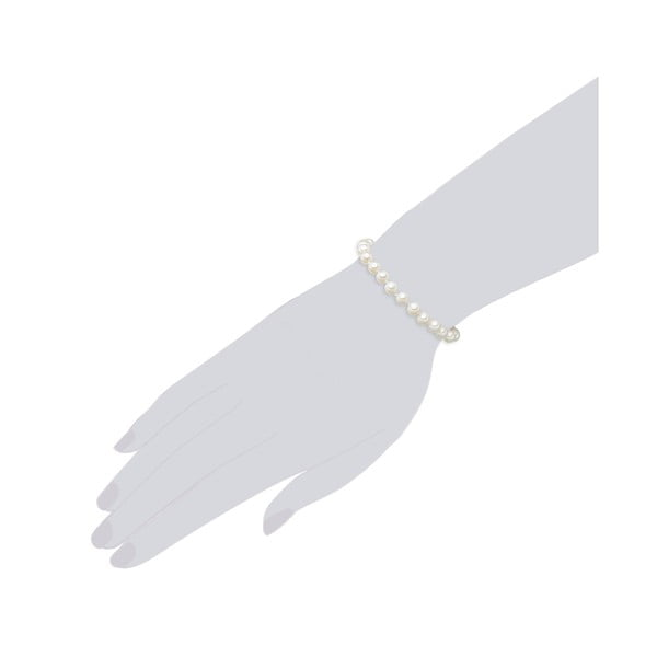 Náramok s bielymi perlami ⌀ 6 mm Perldesse Muschel so zapínaním, dĺžka 17 cm