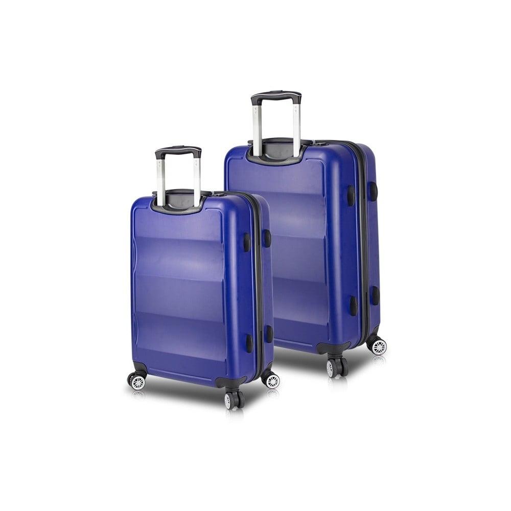 e22178a0ff311 Sada 2 modrých cestovných kufrov na kolieskach s USB porty My Valice LASSO  Cabin Medium