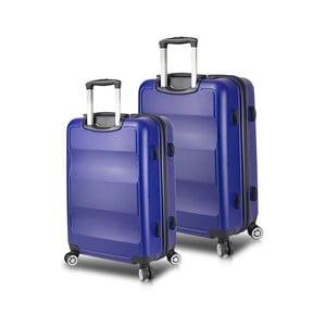 Sada 2 modrých cestovných kufrov na kolieskach s USB porty My Valice LASSO Cabin & Medium
