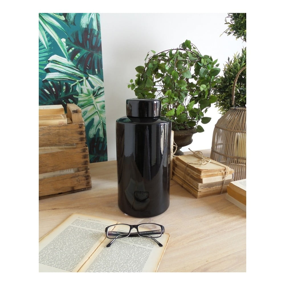 Čierna keramická dóza Orchidea Milano Luxury Black, výska 30 cm