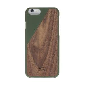 Tmavozelený obal na mobilný telefón s dreveným detailom pre iPhone 7 a 8 Native Union Clic Wooden