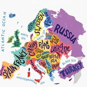 Obraz Homemania Maps World Pastel, 60×60 cm