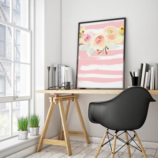 Plagát s kvetmi, bielo-ružové pruhované pozadie, 30 x 40 cm