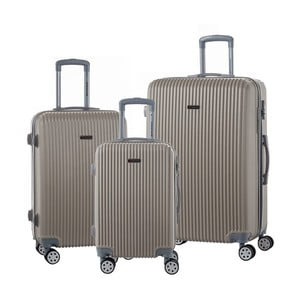 Sada 3 cestovných kufrov na kolieskách vo farbe champagne Travel World Emilia