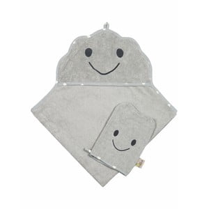 Set sivého uteráka a rukavice Nattiot