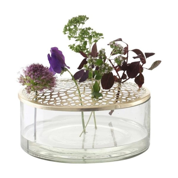 Sklenená váza A Simple Mess Kassandra Brass, ⌀ 20,5 cm