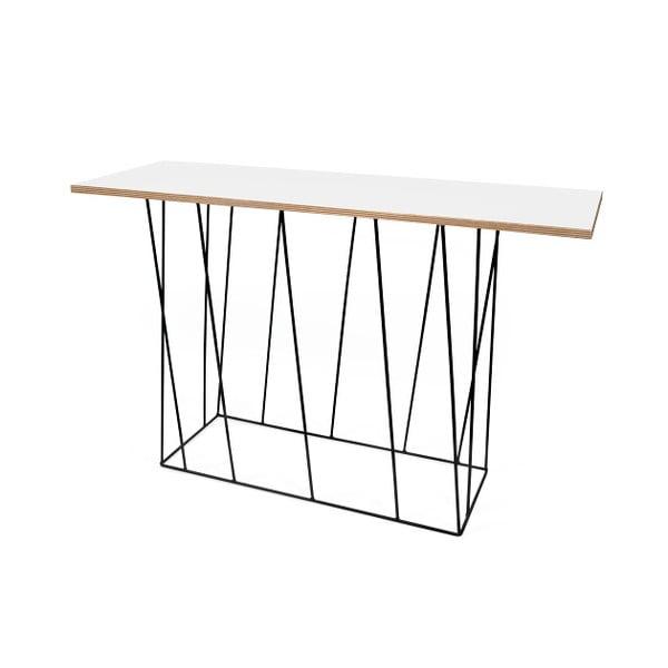 Biely konzolový stolík s čiernymi nohami TemaHome Helix