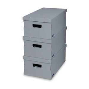 Sada 3 sivých úložných boxov Domopak
