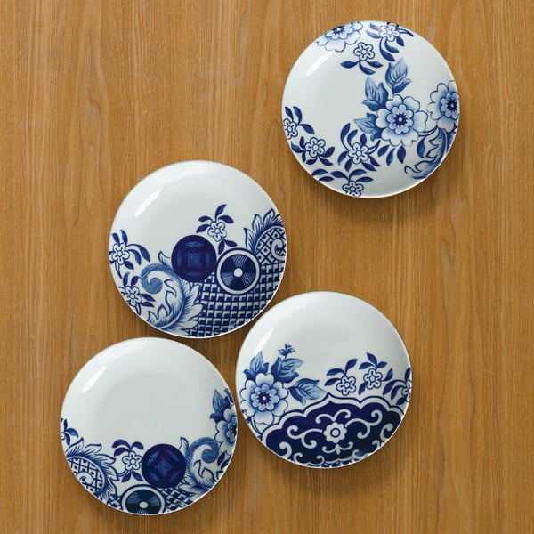 Sada 4 porcelánových dezertných tanierov Willow Love Story