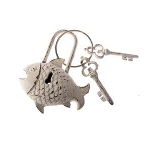 Biele dekoratívne liatinové kľúče Dakls Fishy Rustico