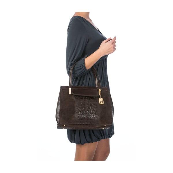 Kožená kabelka Croco Dark Brown