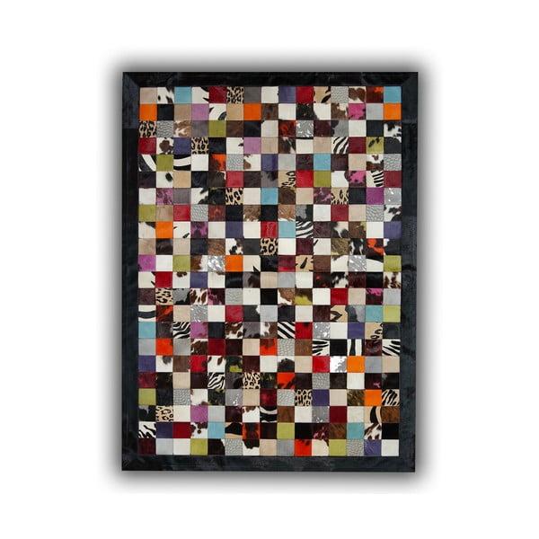 Koberec z pravej kože Black Border, 140x200 cm