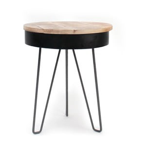 Čierny príručný stolík s drevenou doskou LABEL51 Saria