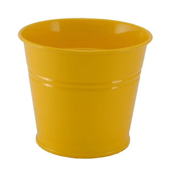Kovový kvetináč Kovotvar, 10x14 cm, žltý
