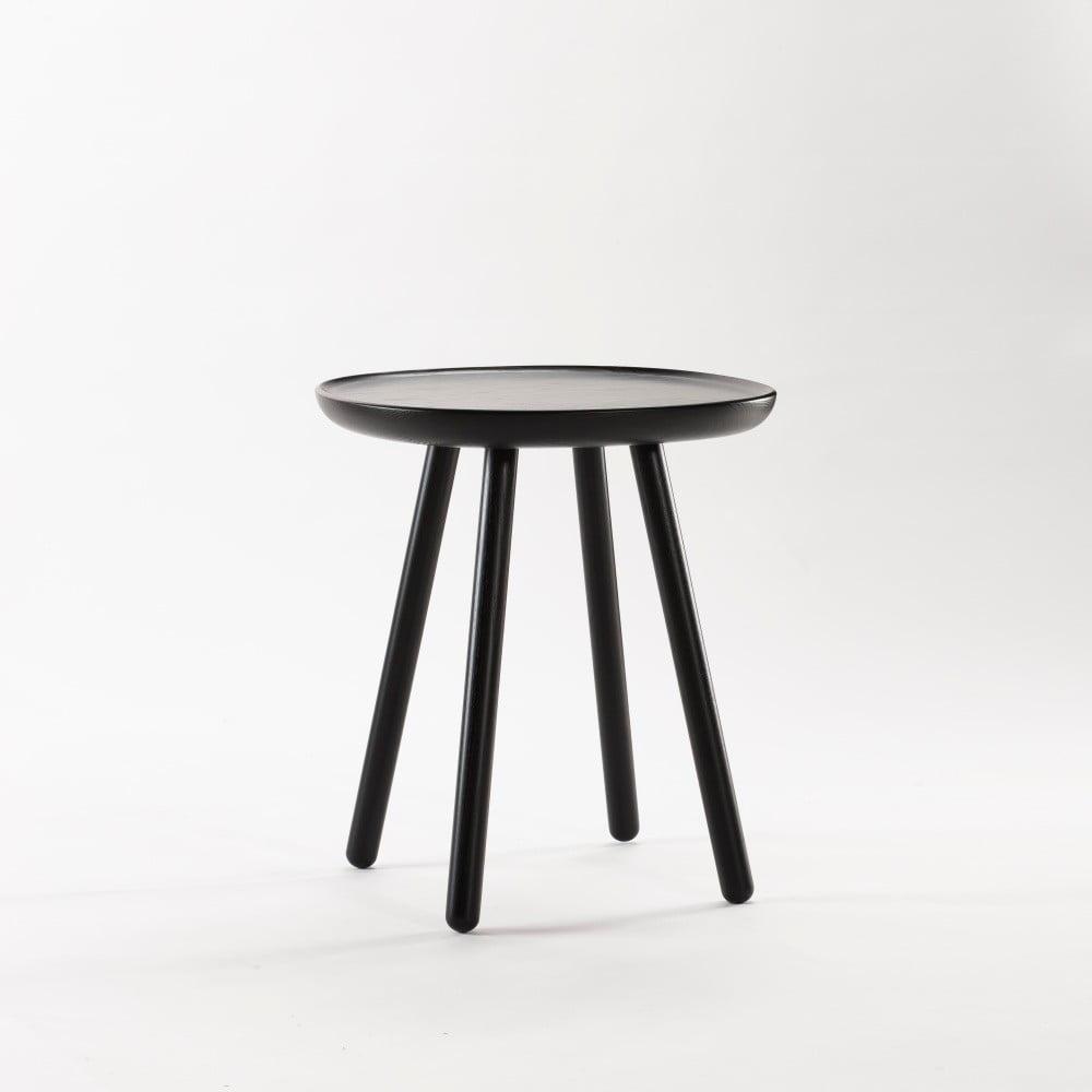 Čierny odkladací stolík z masívu EMKO Naïve Small, ø 45 cm