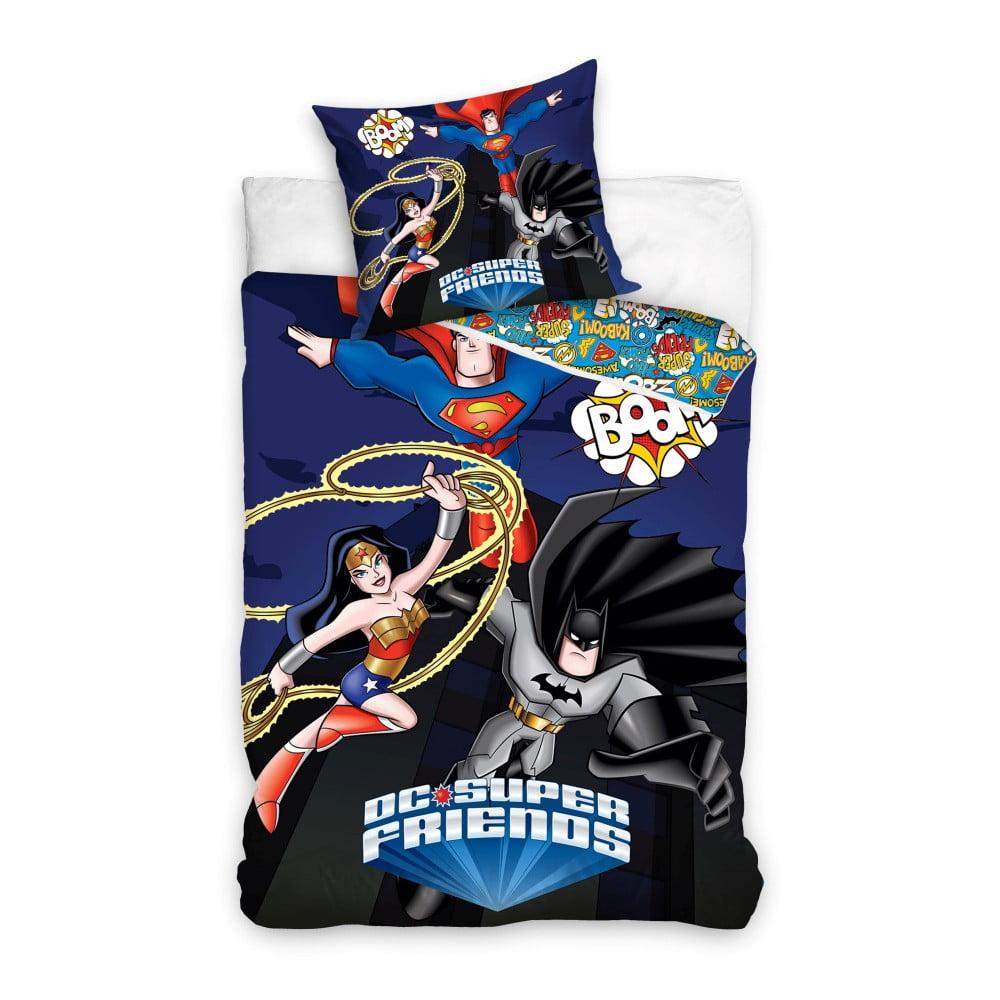 Detské bavlnené obliečky na jednolôžko CARBOTEX DC Superheroes, 160 × 200 cm