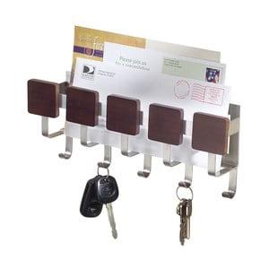 Nástenný držiak na kľúče s priehradkou na listy InterDesign Fombu