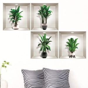 Sada 4 3D samolepiek na stenu Ambiance Exotic Palm Leavs