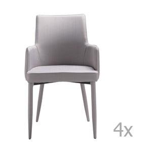 Sada 4 sivých jedálenských stoličiek 13Casa Karl