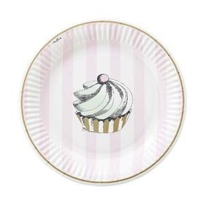 Sada papierových tanierov Mini Cupcake, 8 ks