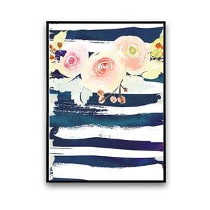 Plagát s kvetmi, bielo-modré pozadie, 30 x 40 cm