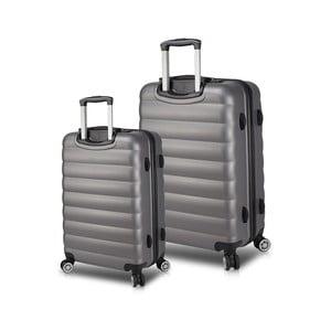 Sada 2 sivých cestovných kufrov na kolieskach s USB porty My Valice RESSNO Cabin & Medium